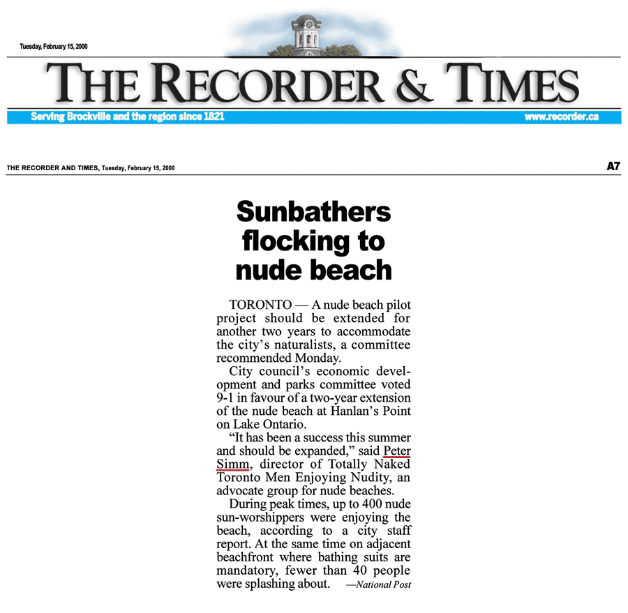 Brockville Recorder & Times 2000-02-15 - Simm convinces City committee to OK renewing Hanlan's Point CO-zone